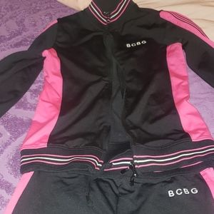 Pink and black sweat suit